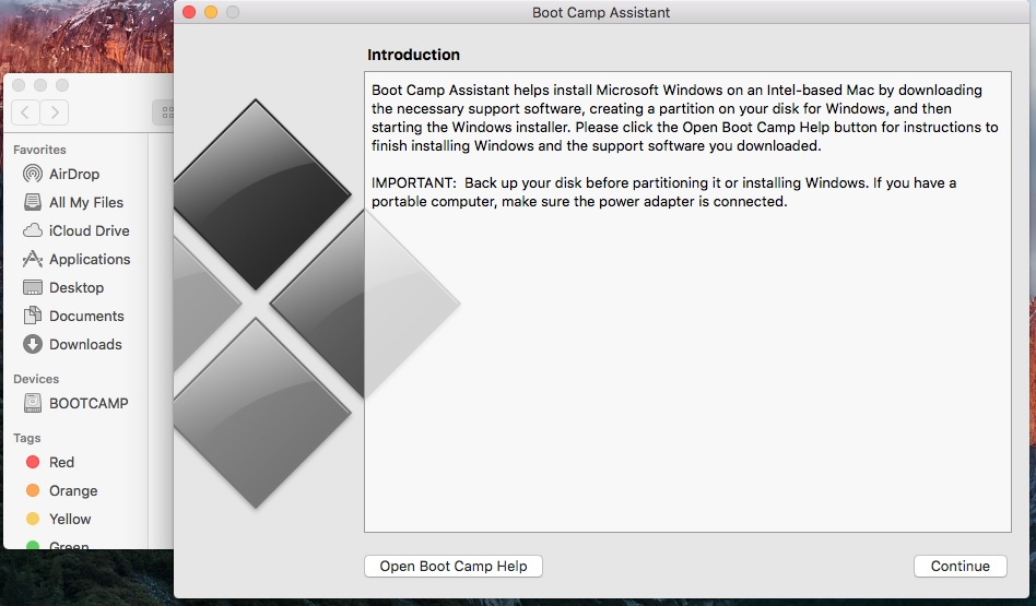 Install windows on Macbook using Bootcamp